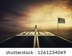 competitive young woman on the...   Shutterstock . vector #1261234069