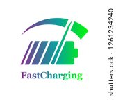 colorful battery fast charge... | Shutterstock .eps vector #1261234240