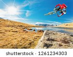 acrobatic jump with mtb in the ... | Shutterstock . vector #1261234303