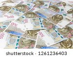 500 pln banknotes background | Shutterstock . vector #1261236403