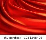 wavy red satin  soft silk... | Shutterstock .eps vector #1261248403