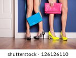 two girls wearing high heels... | Shutterstock . vector #126126110