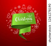 merry christmas ribbon green... | Shutterstock .eps vector #1261278190