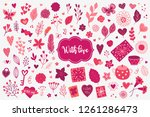 valentine design elements with... | Shutterstock .eps vector #1261286473