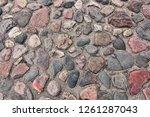 medieval cobbles asphalt. stone ...   Shutterstock . vector #1261287043