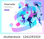 man and woman wearing virtual... | Shutterstock .eps vector #1261292323