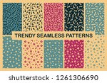 collection of colorful seamless ... | Shutterstock .eps vector #1261306690