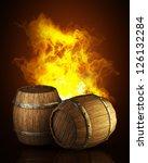 Wooden Barrels In Fire. High...