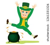 young st patrick man jumping... | Shutterstock . vector #1261331326