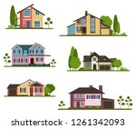 set private houses in flat... | Shutterstock .eps vector #1261342093