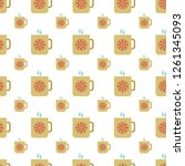 seamless pattern with cup with... | Shutterstock .eps vector #1261345093