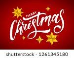 christmas lettering calligraphy ... | Shutterstock . vector #1261345180
