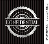 confidential silvery shiny badge | Shutterstock .eps vector #1261345813