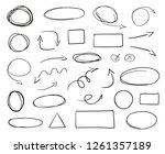 tangled shapes on white. hand... | Shutterstock . vector #1261357189