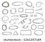 tangled shapes on white. hand... | Shutterstock . vector #1261357189