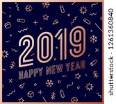 2019  happy new year  gold.... | Shutterstock . vector #1261360840