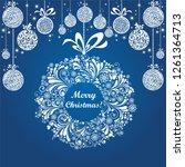 vintage christmas card. winter...   Shutterstock .eps vector #1261364713