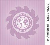 earth icon inside pink emblem.... | Shutterstock .eps vector #1261378219