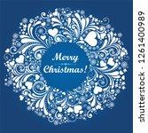 vintage christmas card....   Shutterstock .eps vector #1261400989