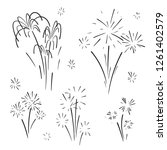 hand drawn set of fireworks.... | Shutterstock .eps vector #1261402579