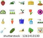 color flat icon set wheelbarrow ... | Shutterstock .eps vector #1261413130