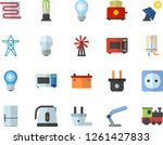 color flat icon set sockets...