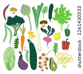 fruits and vegetables flat hand ... | Shutterstock .eps vector #1261430533