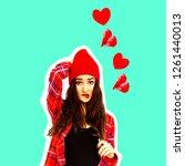 brunette girl in love... | Shutterstock . vector #1261440013