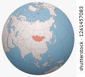 mongolia on the globe. earth... | Shutterstock .eps vector #1261457083