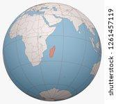 madagascar on the globe. earth... | Shutterstock .eps vector #1261457119