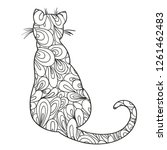 cat on white. zentangle. hand... | Shutterstock .eps vector #1261462483