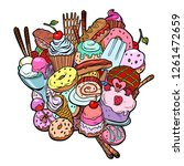baking sweets delicious food... | Shutterstock .eps vector #1261472659