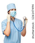young doctor   surgeon showing...   Shutterstock . vector #126147494