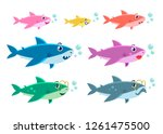 family shark set of colorful... | Shutterstock .eps vector #1261475500
