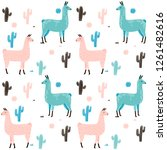 llama seamless pattern with... | Shutterstock .eps vector #1261482616