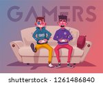 friends is gaming. nerds room... | Shutterstock .eps vector #1261486840