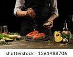 The Chef Prepares Fresh Salmon...