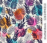seamless pattern with branches. ... | Shutterstock .eps vector #1261494313
