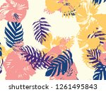tropical background. green ... | Shutterstock .eps vector #1261495843