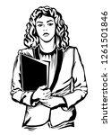 linocut style illustration.... | Shutterstock .eps vector #1261501846