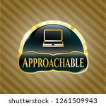 gold badge with laptop icon... | Shutterstock .eps vector #1261509943