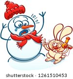 naughty bunny menacing a...   Shutterstock .eps vector #1261510453