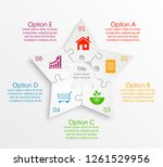puzzle 5 star banner... | Shutterstock .eps vector #1261529956