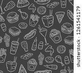 doodle pattern fast food ... | Shutterstock .eps vector #1261541179