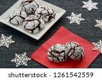 fresh baked chocolate crinkle... | Shutterstock . vector #1261542559