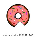 donut with sprinkles and bite... | Shutterstock .eps vector #1261571740