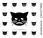 unamused cat icon. cat smile... | Shutterstock . vector #1261577860