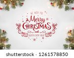 merry christmas typographical... | Shutterstock . vector #1261578850