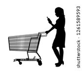 the woman with shopping cart... | Shutterstock .eps vector #1261589593