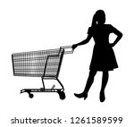 the woman with shopping cart...   Shutterstock .eps vector #1261589599
